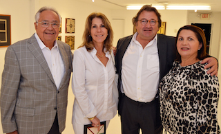 Cesar Segnini owner of Durban Segnini Gallery with collectors Patricia Steiner and Jorge Uribe, and wife Sulay