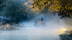 Frosty, misty morning, boat headed away (Dave_A_2007) Tags: boat canal frost landscape mist water wolverhampton westmidlands unitedkingdom