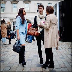 London Fashion Week (jonron239) Tags: girls boy man london women boots expression conversation gesture raincoat bigscarf skinnyjeans