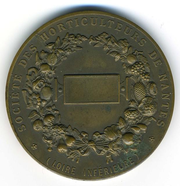NANTES, médaille de la Société des Horticulteurs, fin du XIXe siècle, revers (photo : Gildas Salaün)