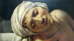 David, The Death of Marat, detail with face