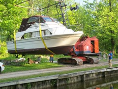 Spring launch Congdens ' Cove Marina Bridgeport NY (dcongden) Tags: water marina boat spring carver launch koehring