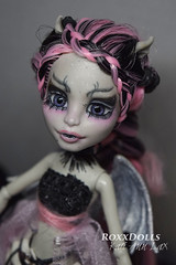 Gia- REanimated from Rochelle Goyle (roxxdolls) Tags: pink black skulls wings doll ooak cage skirt gargoyle chainlink bones fishnets rib braids rochelle repaint goyle faceup monsterhigh monsterhighcustom roxxdolls