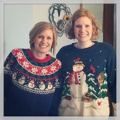 @hailish and I scored grandmas excellent Christmas sweaters!   (kisluvkis) Tags: square bestof squareformat walden 2015 iphoneography instagramapp uploaded:by=instagram bestof2015 instagram2015