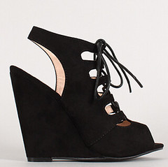 "suede cut out lace up open toe wedge blk • <a style=""font-size:0.8em;"" href=""http://www.flickr.com/photos/64360322@N06/16163958238/"" target=""_blank"">View on Flickr</a>"