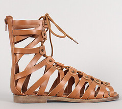 "lace up peep toe gladiator flat sandal whisky • <a style=""font-size:0.8em;"" href=""http://www.flickr.com/photos/64360322@N06/16165365129/"" target=""_blank"">View on Flickr</a>"