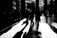 concourse (donvucl) Tags: bw sun london shadows eustonstation lightandshade donvucl olympusem1 softenedblurred