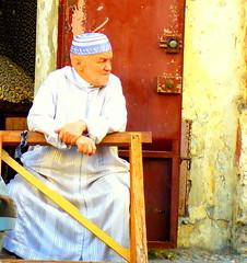 Taciturn Tangier (dwhearne) Tags: street old man muslim morocco pensive brooding abaya tangier kufi taciturn