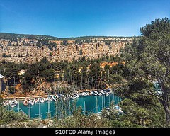 Photo accepted by Stockimo (vanya.bovajo) Tags: travel trees sea holiday france mountains nature water port landscape boats bay harbor boat harbour ships tourist cliffs recreation provence ports cassis calanques calanque iphone miou iphonegraphy stockimo
