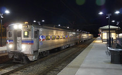 Outbound train arriving at night (Geo Gibson) Tags: station wales train north rail septa regional georgegibsonphotos