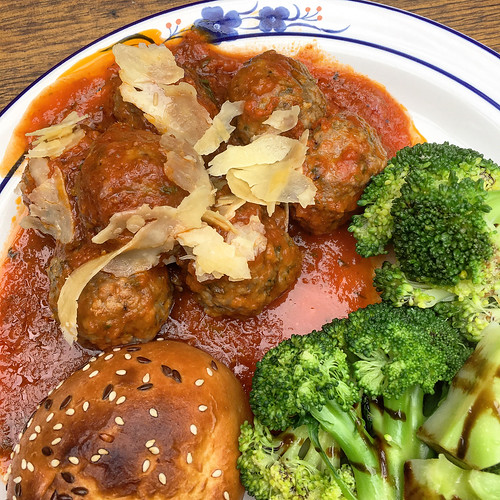 Meatballs and broccoli for lunch at Little Bertie in Richmond