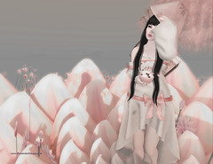 Find Peace in your heart... (BetaTested (Ealeen Debbel)) Tags: pink flower pose hair japanese asia skin lotus avatar may sl secondlife icecream una quirky appearance whimsical sallie tfc ayashi arise maitreya signaturepose catwa thefantasycollective