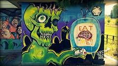 """Ognuno ha la sua giungla"" 3 (Lookatmy Back ( aka DarthIgorMortis )) Tags: street streetart roma art skull zombie brain teschio mostri cervello viabianchini"