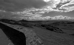 Criccieth View (Alex Mary) Tags: blackandwhite storm mountains nature monochrome wales landscapes atmosphere cluds criccieth