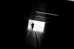 jogging (maekke) Tags: bw man silhouette canon underground 50mm switzerland noiretblanc f14 streetphotography highcontrast tunnel zrich jogging jogger ch 2016 eos6d