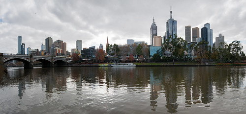 Panorama of Melbourne CBD and Princes bridge along the Yarra (Photomerged)