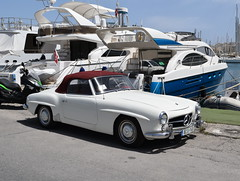 Mercedes Benz 190 SL (RobJH82) Tags: sea summer sun hot island classiccar europe harbour malta mercedesbenz heat yachts sportscar softtop gzira manoelisland