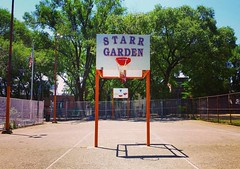 Starr Garden (phillytrax) Tags: city trees shadow urban usa philadelphia playground america fence square unitedstates pennsylvania centercity pa squareformat washingtonsquare metropolis philly hoops mayfair metropolitan basketballcourt 215 cityofbrotherlylove starrgarden downtownphilly iphoneography instagram instagramapp uploaded:by=instagram