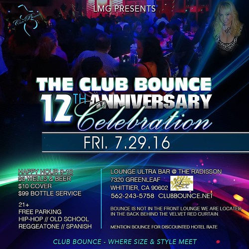 Mark your calendars!! Club Bounce Fri 7/29/16! Celebrating 12 years of size and style!  Radisson Hotel Ultra Lounge 7320 Greenleaf Ave. Whittier, Ca 90602  Join the email list to stay updated at www.clubbounce.net   #bbw #clubbounce #lisamariegarbo #pluss