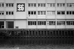 A overcast afternoon at the Neckar. (andreasheinrich) Tags: blackandwhite architecture river germany deutschland factory fabrik july windy overcast architektur juli fluss neckar badenwrttemberg blackandwhitephotos bewlkt windig neckarsulm schwarzweis kpsg nikond7000