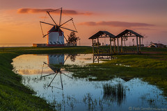 The Windmill (Paulo Carvalho Photography) Tags: landscape sunrise water clouds urban reflexos cu nuvens paisagem amanhecer paisagemurbana lisboa nascerdosol lisbon paulocarvalho portugal windmill moinho reflections