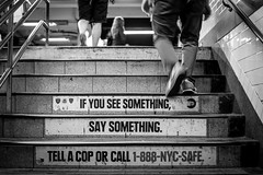 If you see something, say something... (TS_1000) Tags: hinweis police cop safe treppe metro subway ifyouseesomethingsaysomething usa nyc ny newyork