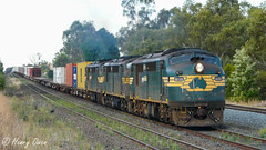 Tallarook Thunder (Henrys Railway Gallery) Tags: a71 a78 a81 aclass emd diesel clyde 9306 tocumwal appletondock containertrain loadedcontainertrain freighttrain loadedfreighttrain tallarook northeastvictoria exbclass rebuild rebuilt fa freightaustralia pacificnational pn