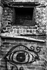 Graffiti on burnt brick wall (Classicpixel (Eric Galton) Photography Portfolio) Tags: burn brulé burnt brick brique wall mur graffiti stone pierre house maison home incendie fire noiretblanc nb bw blackandwhite abstract abstrait wood bois ericgalton classicpixel nikon d800e 28mmf18g