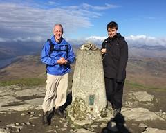 Thom and Matt at the summit trig point (barronr) Tags: scotland lochlomondthetrossachsnationalpark benlomond theptarmigan