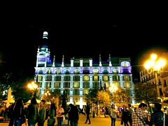 Madrid night (Marcosnr92) Tags: madrid street city night buildings landscape lights hotel cosmopolitan spain place metro crystal horizon towers precious beatiful atocha granvia colourfull