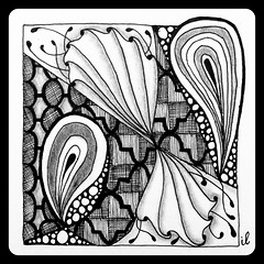 Tickled toTangle (ilienne) Tags: blackandwhite white fish black angel tangle angelfish challenge tickled paiz zentangle tesali wwwzentanglezooblogspotnl