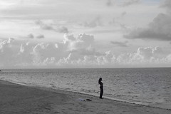 """I had to leave a Little Girl in Kingstontown"" (cmans63tr4a) Tags: ocean bw woman beach girl silhouette clouds hair sand missing arms body horizon cable shore edge waters lonely folded language lover bahamas nassau longing wistful braided silou cmanszebulon"