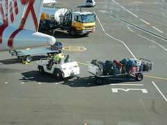 Baggage trailer & refuelling truck by Virgin Turbo-prop plane. (Bob Green 52) Tags: tarmac airplane aircraft wing engine australia geelong avalonairport