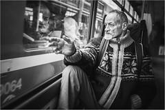 The world outside (Tomas.Kral) Tags: life street old city urban blackandwhite bw man public monochrome mono fuji homeless transport tram fujifilm moment x100s