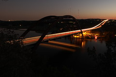 360 Bridge (gravitysandwich) Tags: bridge light lake car canon austin river twilight dusk trail t3i flickrchallengegroup