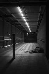 3/365 - Homeless in Tucson (Joshua Nistas) Tags: street sleeping arizona blackandwhite white black night 50mm blackwhite nikon downtown tucson homeless leg az nighttime 365 nikkor amputee prosthetic d800 prostheticleg tucsonaz 3365 365project metalleg