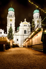 Abandoned christmas market alley (volker-kannacher) Tags: christmas street city abandoned church night germany way weihnachten bayern deutschland bavaria lights alley alone cathedral market dom streetphotography alleyway lane dome lonely markt left deserted minister passau