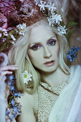 The Queen Awakes III (Daniela Majic) Tags: flowers portrait floral fashion model fineart makeup fantasy dreams blonde conceptual webs secretgarden blueyes whitehair flowerwall fairytalephotography danielamajicphotography danielamajicsecretgarden