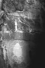 Rochester Creek Petroglyph Panel Light 014 November-0230 bw (houstonryan) Tags: pictures bw white black yellow rock creek writing panel image native ryan side houston carving rochester filter american infrared left petroglyphs houstonryan