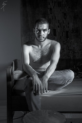 Selfportrait (Alex Gartzo) Tags: portrait blackandwhite white house selfportrait man black portraits canon naked nude photography blackwhite bed autoportrait nudity