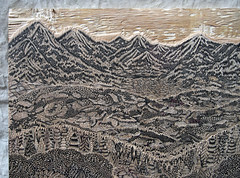 """Key Block for the """"OVERLOOK"""" Woodcut (Tugboat Printshop) Tags: trees panorama mountains art nature forest print landscape carving printmaking fields process woodcut woodcarving woodblock woodcutting tugboatprintshop"""