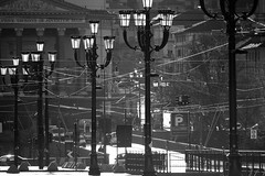 oh madre (italo dei silenzi) Tags: street city houses urban blackandwhite bw italy church torino town novembre streetlights lamps piazza shape inverno turin piedmont atmospheric vittorio granmadre