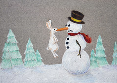 May You Get Everything You Want This Holiday Season (theothernate) Tags: christmas snow rabbit bunny art hat scarf snowman holidays drawing buttons evergreens angry hanging coal fighting dangling coloredpencil perturbed carrotnose cottontail brim irate stickarms