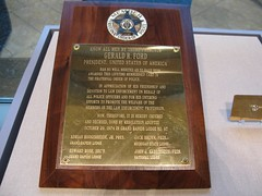 "Gerald R. Ford's Fraternal Order of Police lifetime membership plaque from the Gerald R. Ford Metro Lodge #97 • <a style=""font-size:0.8em;"" href=""http://www.flickr.com/photos/55149102@N08/15986676992/"" target=""_blank"">View on Flickr</a>"