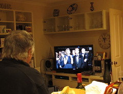 Approaching the New Year, we watch on the TV in Sydney (spelio) Tags: carters newyearseve 2014 friends dinner wine beers iview link abc tv fave