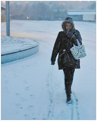 Snow (m.jon81) Tags: winter woman snow storm cold vinter sweden blonde snowing sverige blizzard sn egon 2015 snnfaller