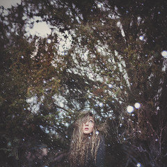 strange things. (steffi au) Tags: wood winter selfportrait snow storm cold tree girl self hair wind