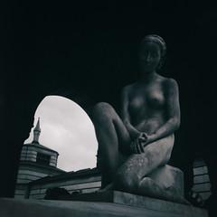 Cimitero Monumentale, Milano (nickriviera73) Tags: blackandwhite italy milan 6x6 film graveyard zeiss vintage mediumformat square ikoflex filmscan cimitero favorit classiccamera