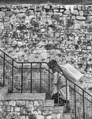 LIZ_6652b (Elizabeth.Argyll) Tags: blackandwhite london stairs costume bricks toweroflondon peasant
