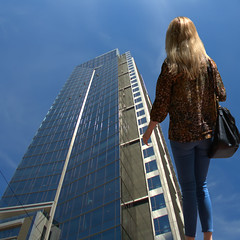 Taller Than A Sky Scrapper (swong95765) Tags: sky woman up different perspective odd blonde tall visual height skyscrapper